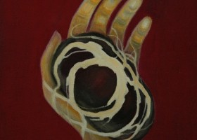0903_Christina_Kruesi_Art_Stoned_Hand_2005_Oil_on_Canvas_50x50cm