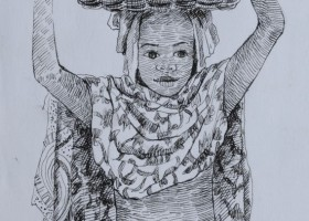 0127_Christina_Kruesi_Art_African_Girl_1993_Pen_11x14cm